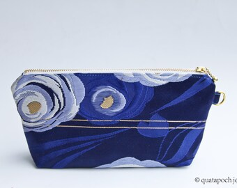 Beautiful Blue floral Obi upcycled into a zippered pouch, evening bag, small purse, gold metal hardware, one of a kind, Reserved for Mollie