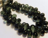 Quartz Gemstone. Semi Precious Gemstone Bead. Faceted Dark Green Teardrop Briollete.. 11-12mm. 2 Briolettes  (aqz)