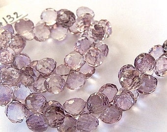 Pink Amethyst Gemstone. Semi Precious Gemstone Bead. Faceted Onion Briolette, 7-7.5mm, Select Non Matching Briolettes or 1 Pair (apam1)