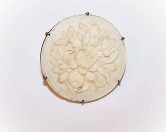 Unique LATE VICTORIAN Silver Button with Carved Floral Panel