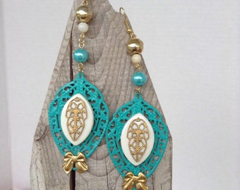 Turquoise filigree and bow earrings