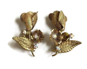 Vintage Pair of Gold Tone Gilt Rose and Aurora Borealis Rhinestones Earrings