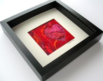 Fibre Art, Silk Fusion Heart on Handmade Felt