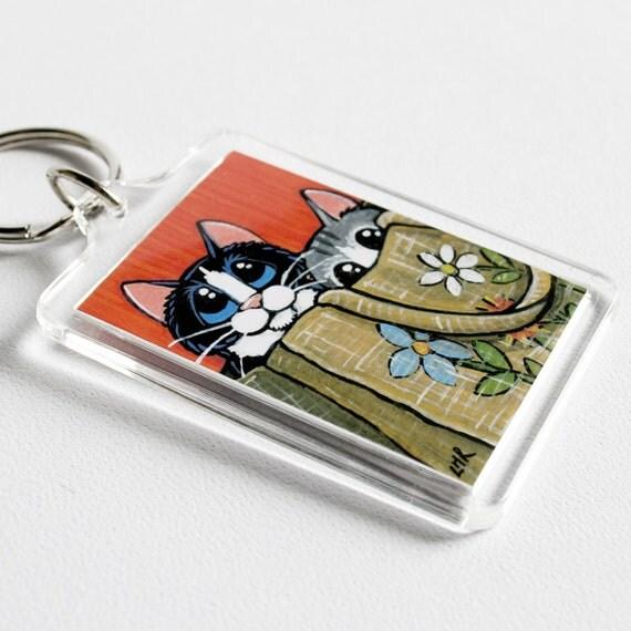 Tuxedo Cat Tabby Cat Hiding in Bag Keyring (large) | Whimsical Art Illustration by Lisa Marie Robinson