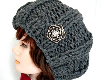 KNITTING PATTERN HAT - easy knitted ribbed stitch hat, worked flat for beginners. #977