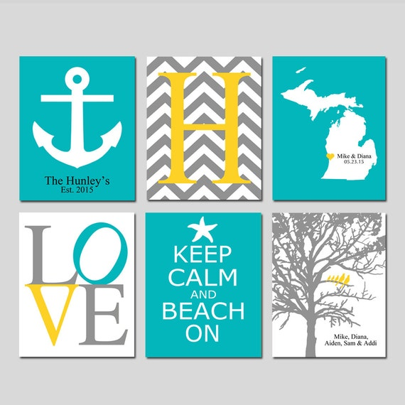 Beach House Decor Family Wall Art - Set of 6 Nautical Prints - Chevron Initial, Family Tree, LOVE, Keep Calm and Beach On, State Map, Anchor