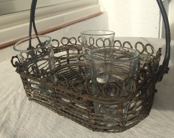 Antique French Wire Carrier for Drinking Glasses, SALE, Get 25% OFF, Use coupon code 25percentoffwow at checkout!