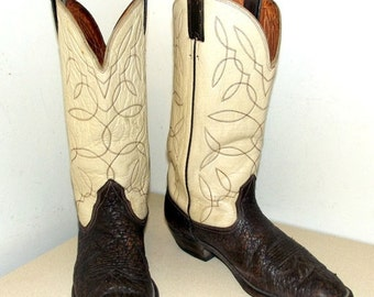 ON SALE Vintage Western Cowboy Boots off white and brown leather size 9 or cowgirl size 10.5 to 11