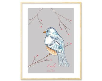 Personalized Baby Gift, Bird, Baby's Bedroom Illustration, Children's Decor, New Mom Gift, New Baby, Grey Nursery Print, New Parent, 8.5x11
