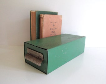 Vintage Green Metal American Home Recipe Box Hoosier Storage Box Shabby Office
