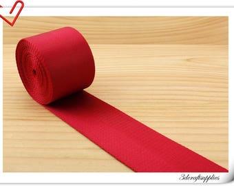 5 yards of 2 inch (5cm) Heavy weight Nylon webbing  Bright Red ZA39
