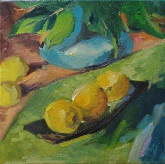 Leaves and Lemons a still life painting by South Carolina artist Linda Hunt...impressionism, impressionistic, still life...WET WET WET