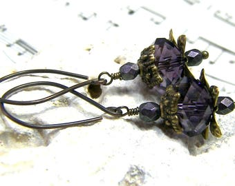 ON SALE Lotus flower Purple Earrings Crystal Earrings Flower Earrings Brass Earrings Oriental Earrings Asian Earrings Dark Purple Earrings