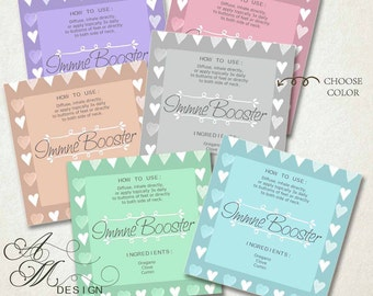 Digital Download 6 Color Hearts CUSTOMIZABLE Essential Oil Labels Kitchen Labels Blank Labels for Glass Manson Jars 10ml Rollers