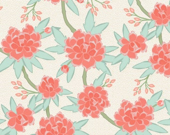 Chinoiserie Fabric - Paeonia In Mint And Coral By Willowlanetextiles - Mint Cotton & Upholstery Fabric By The Yard With Spoonflower