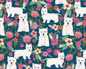 Westie Fabric - Westie Florals West Highland Terrier Dog Fabric By Petfriendly - Westie Dog Cotton Fabric by the Yard with Spoonflower