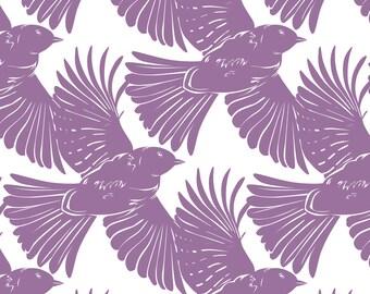 Purple Bird Fabric - Purple Bird Silhouettes Diagonal Seamless Pattern By Oksancia - Purple Bird Cotton Fabric By The Yard With Spoonflower