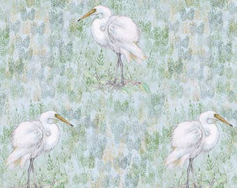 Watercolor Egret Fabric - Great White Egret In Watercolor By Eclectic House - Watercolor Bird Cotton Fabric By The Yard With Spoonflower