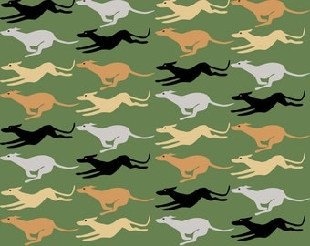 Running Greyhound Fabric - Running Greyhounds By Eclectic House - Running Greyhound Cotton Fabric By The Yard With Spoonflower