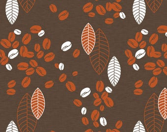 Brown Coffee Beans Fabric - Spilled Beans By Newmomdesigns - Brown Coffee Beans Cotton Fabric By The Yard With Spoonflower