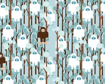 Bigfoot Fabric - Lost In Yeti Forest Small By Thirdhalfstudios- Myth Abominable Snowman Sasquatch Cotton Fabric By The Yard With Spoonflower