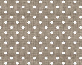 Brown + White Polka Dots Fabric - Faded French Spots - Brown By Kristopherk - Rustic Polka Dots Cotton Fabric By The Yard With Spoonflower
