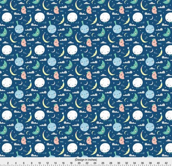 Retro moon fabric goodnight blue moon by for Retro nursery fabric
