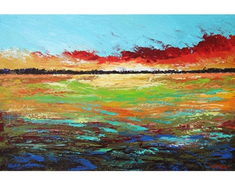 landscape painting ORIGINAL abstract landscape trees clouds sunset acrylic impressionism  gold red  aqua rust Canvas 24x36