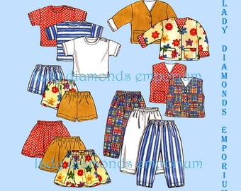 2) New Look 6398 Boys & Girls Pullover Tops Pants Jacket Vest Shorts Skirt Childs size 2 3 4 5 6 7 Spring Summer Sewing Pattern Uncut FF