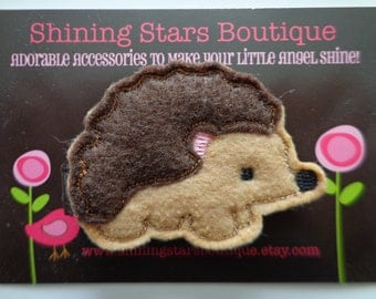 Felt Hair Clip - Hair Accessories - Light & Dark Brown Embroidered Felt Hedgehog With A Pink Ear Hair Clippie - Woodland Or Forest Animal