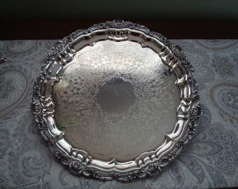 """Fine Quality Poole Silver Plate Ornate  12"""" Serving Tray, Footed, Old English, Authentic Reproduction EPCA Silverplate by Poole 3209 Tea"""