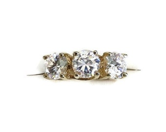 Three 3 Stone Cubic Zirconia Engagement Ring Clear CZ Vintage