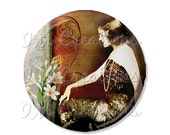 "15% OFF - Pocket Mirror, Magnet or Pinback Button - Wedding Favors, Party themes - 2.25""- Vintage 1920s Sexy MR109"