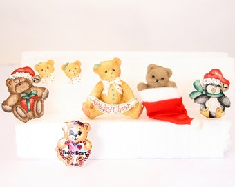 Christmas Bear Pins and Earrings Pierced Vintage Lot of 6 Bears and Penguin Destash Lot Red Green Colorful