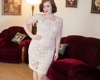 Vintage 1960s Dress - Bombshell Sheer Cut Work Floral Lace 60s Wiggle Dress in Cream Linen