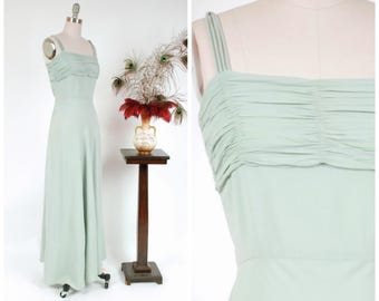 Vintage 1930s Gown - Lovely Seafoam Green Rayon Crepe Curve Hugging 30s Evening Gown with Bias Cut Skirt and Ruched Bust
