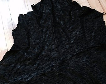 A fun  black textured lambskin leather with wavy line  - a  3 plus square foot hide