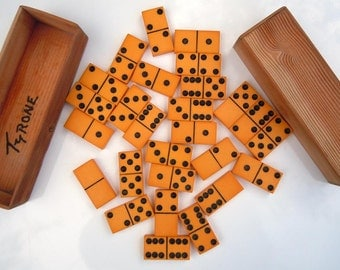 27 Vintage Yellow and Black Dominoes Old Plastic Dominoes Game Pieces Stocking Stuffer