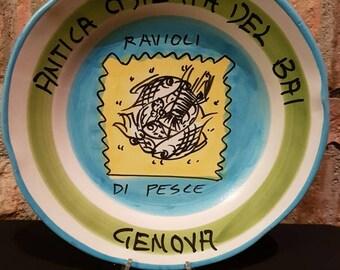 Vintage Italian Ceramic Solimene Vietri 1987 Buon Ricordo Restaurant Plate - GENOVA QUARTO