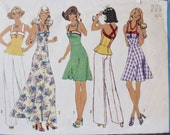 1970's Simplicity 6979 Vintage Sewing Pattern Dress with Two Lengths Plus Peplum Top Option Size 12 Bust 34