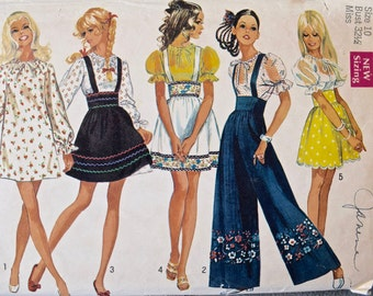 """1960's Simplicity 8208 Vintage Sewing Pattern Peasant Style Blouse Mini-Dress Mini-Skirt and Pants Size 10 Bust 32.5"""""""