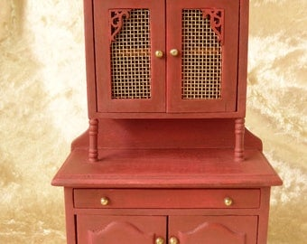 Dollhouse miniature hand-painted    burgundy cupboard in 12th  scale cottage style with brass net doors