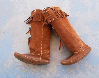 vintage 70s Moccasin Boots - Native American Brown Suede Fringe Boots Sz 7 7.5 38