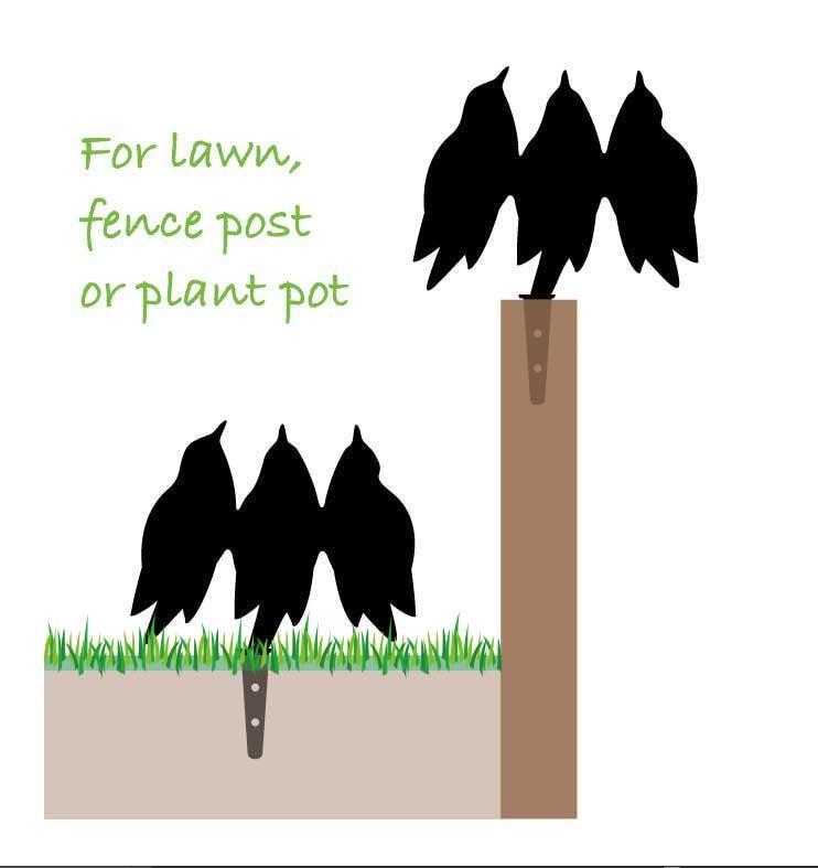 Garden Birds Chorus, for Plant Pot, Post or Fence