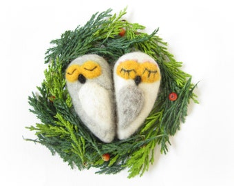 Owl,Felted ornament,Needle felted decoration,Wool ornament,