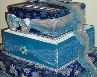 Wedding Card Box, Winter Wedding Cards Box,Money Holder, Centerpiece, Bridal, Birthday, Table Decoration,Cinderella Shoe
