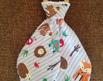 Baby Biter wooden teething ring - Woodland Creatures w/cotton terry