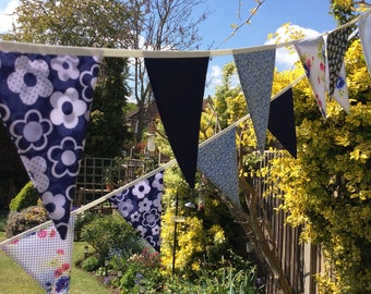 Navy and blue Extra Long Bunting - 21 flags - 20ft 6m long, weddings, parties, decoration