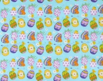Easter Fabric, Easter Eggs on Blue Cotton Fabric, Kid's Blue Easter Egg and Easter Chick Pure Cotton Fabric