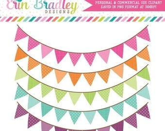 50% OFF SALE Colorful Pennant Banner Flags Clipart Clip Art for Personal & Commercial Use